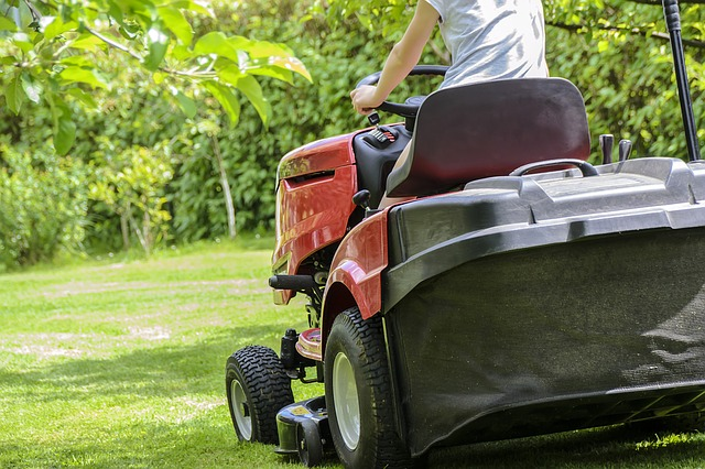 person on a riding lawn mower cutting grass